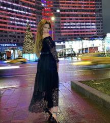 Crna cipkasta haljina