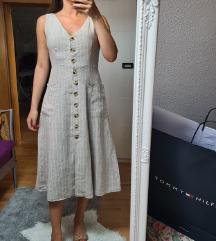 MANGO midi prugasta lanena haljina s ETIKETOM