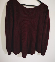 Oversized bordo pulover M