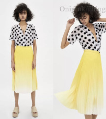 Plisirana žutna suknja L