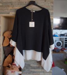 Crna tunika sa bijelim rubom