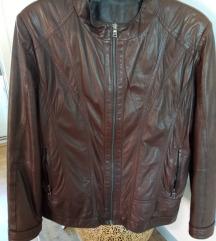 Smeđa prava kožna jakna