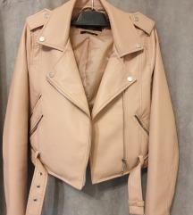Baby roza kožna jakna