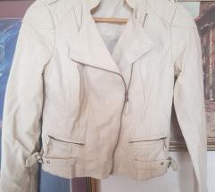 Krem kožna jakna