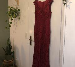 Svecana bordo crvena cipkasta duga haljina
