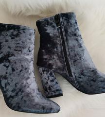 Sivo plave baršun čizme
