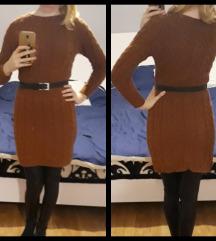 Smeđa haljina / tunika pletena