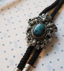 Vintage ogrlica crna vrpca i plavi kamen