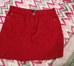 Crvena traper suknja