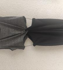 H&M haljina sivo-crna