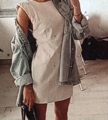 Bijela kožna mini haljina