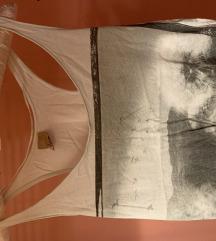Zara bijela majica bez rukava print
