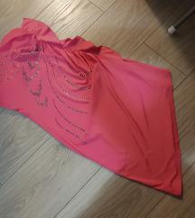 Roza asimetricna haljinica sa cirkonima💜