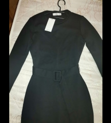 MANGO nova midi haljina s remenom, crna