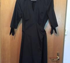 Crna wrap haljina s 2/4 rukavima