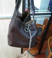 smeđa torbica, prava koža