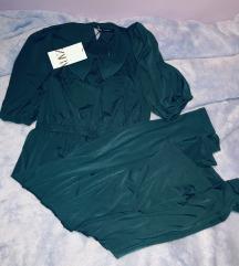 Zara smaragdna midi haljina zelena S 36