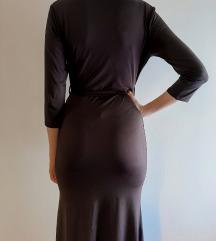 Crna duga haljina s pojasom