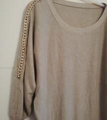 Sivo-bež pletena haljina sa šišmiš rukavima