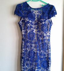 Plavo bijela čipka haljina, do koljena