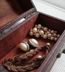 Lot biseri perlice, 2x naušnice + narukvica