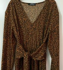 Tigrasta midi haljina na vezanje S