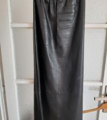 duga kožna suknja