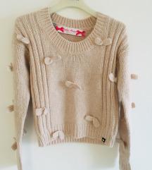 Bež rozi pulover sa mašnicama vel S