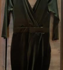 Maslinasto zelena velvet haljina