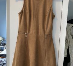 Kratka smeđa baršunasta haljina