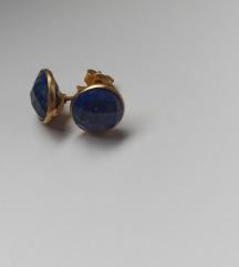 Naušnice lapis lazuli srebro s pozlatom