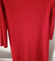 Crvena midi plisirana haljina M/L (38/40) pt uklj