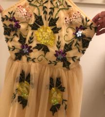 Puder roza haljina sa tilom i našivenim cvjetićima