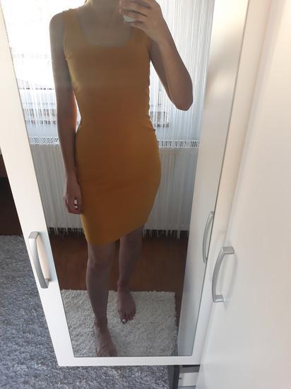 Oker žuta uska haljina