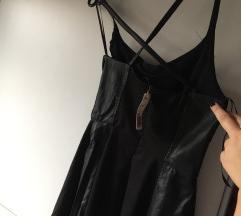 S etiketom Crna kožna haljina