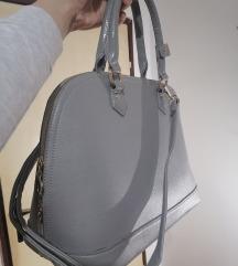 Siva kožna poslovna torba