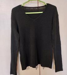 Crni rebrasti džemper/majica