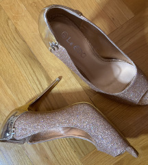 Nove Mass zlatne glitter peep toe sandale