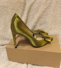 Zara satenske špic salonke zelene zlatne 36