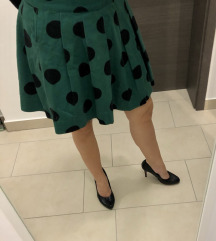 H&M retro zelena suknja na točkice