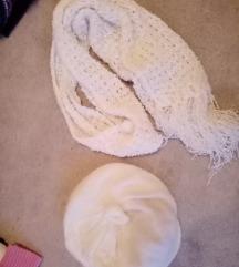 Bijeli komplet šal i kapa