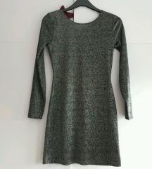 Nova šljokičasta srebrno crna haljina S