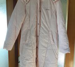 Zimska roza jakna s krznenom kapuljačom %%