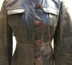 Kožna smeđa jakna M