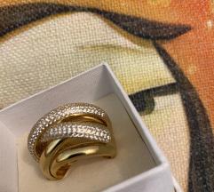 Zaks veliki srebrni prsten s pozlatom