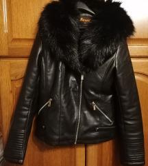 Nova kozna jakna postavljena krznom, M vel.