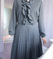Crna točkasta vintage haljina