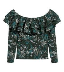H&M zelena cvjetna bluza s volanima