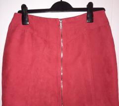 Crvena zip suknja s patentom M - L